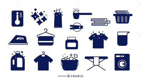 Coleção de elementos de lavanderia