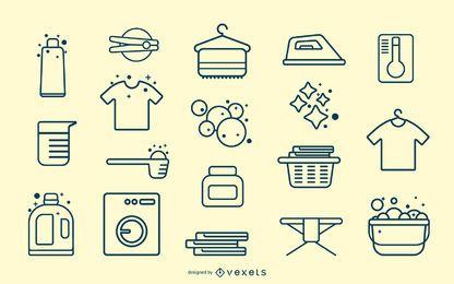 Colección de trazos de elementos de lavandería