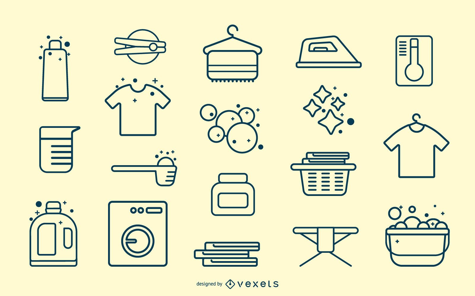 Coleção de traços de elementos de lavanderia