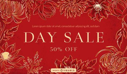 Red floral banner template