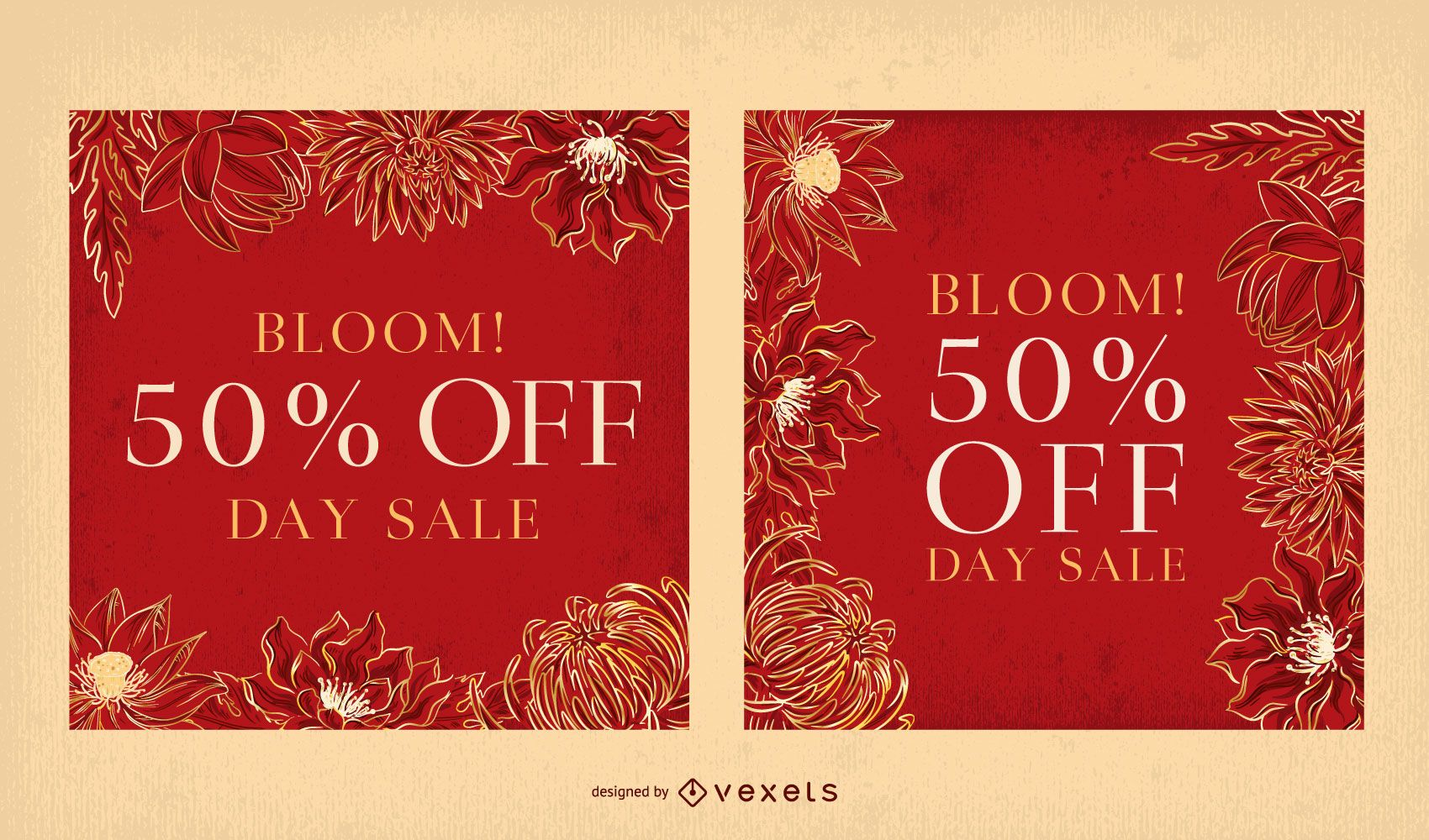 Red floral banner template set