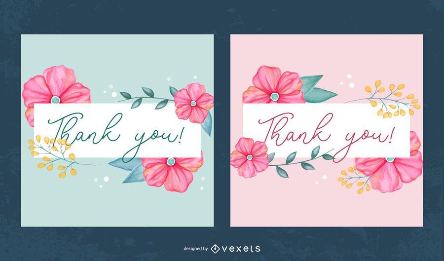 Flores suaves gracias conjunto de banner
