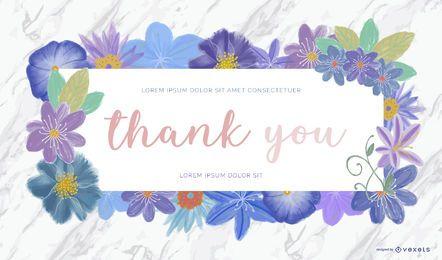 Banner de agradecimento com flores suaves