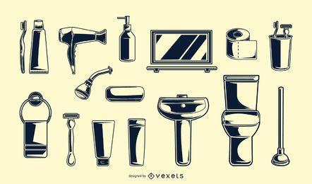 Conjunto preto vintage com elementos de banheiro
