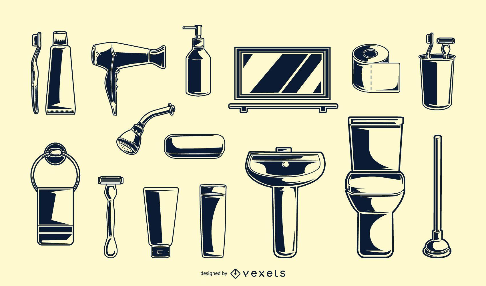 Vintage bathroom elements black set