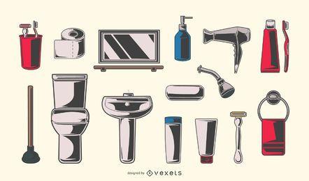 Conjunto de elementos de banheiro vintage