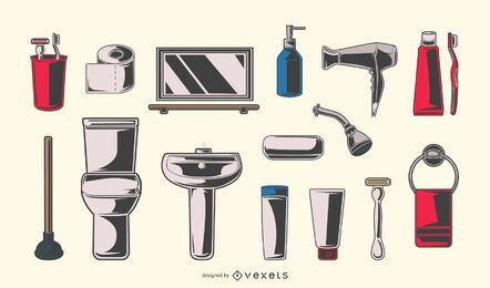 Vintage bathroom elements set