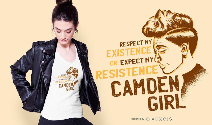 Projeto do t-shirt das citações da menina de Camden