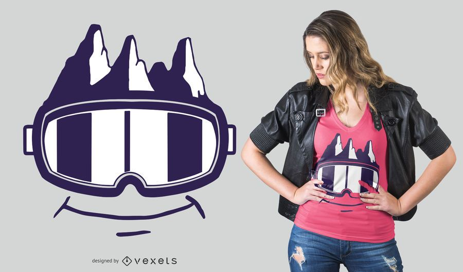 Diseño divertido de la camiseta de las gafas de nieve