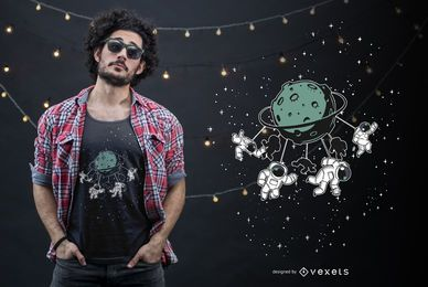 Diseño de camiseta divertida de Space Attraction