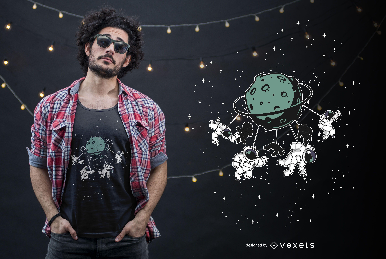 Design de camisetas engraçadas da atração espacial