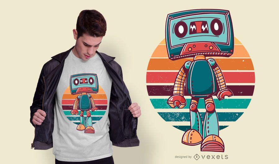 Design de t-shirt dos desenhos animados de fita vintage