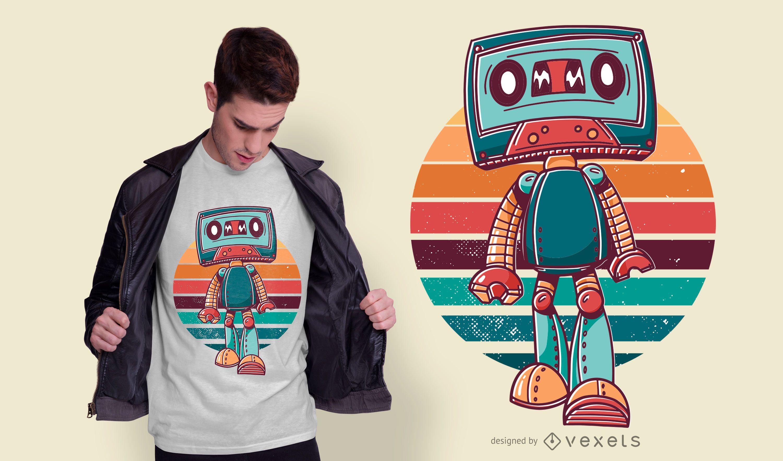 Diseño de camiseta de dibujos animados de cinta vintage