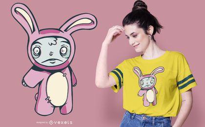 Design de camiseta do coelho zumbi