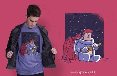 Diseño de camiseta de astronauta ukelele