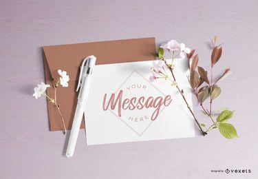 Composição de maquete de carta floral