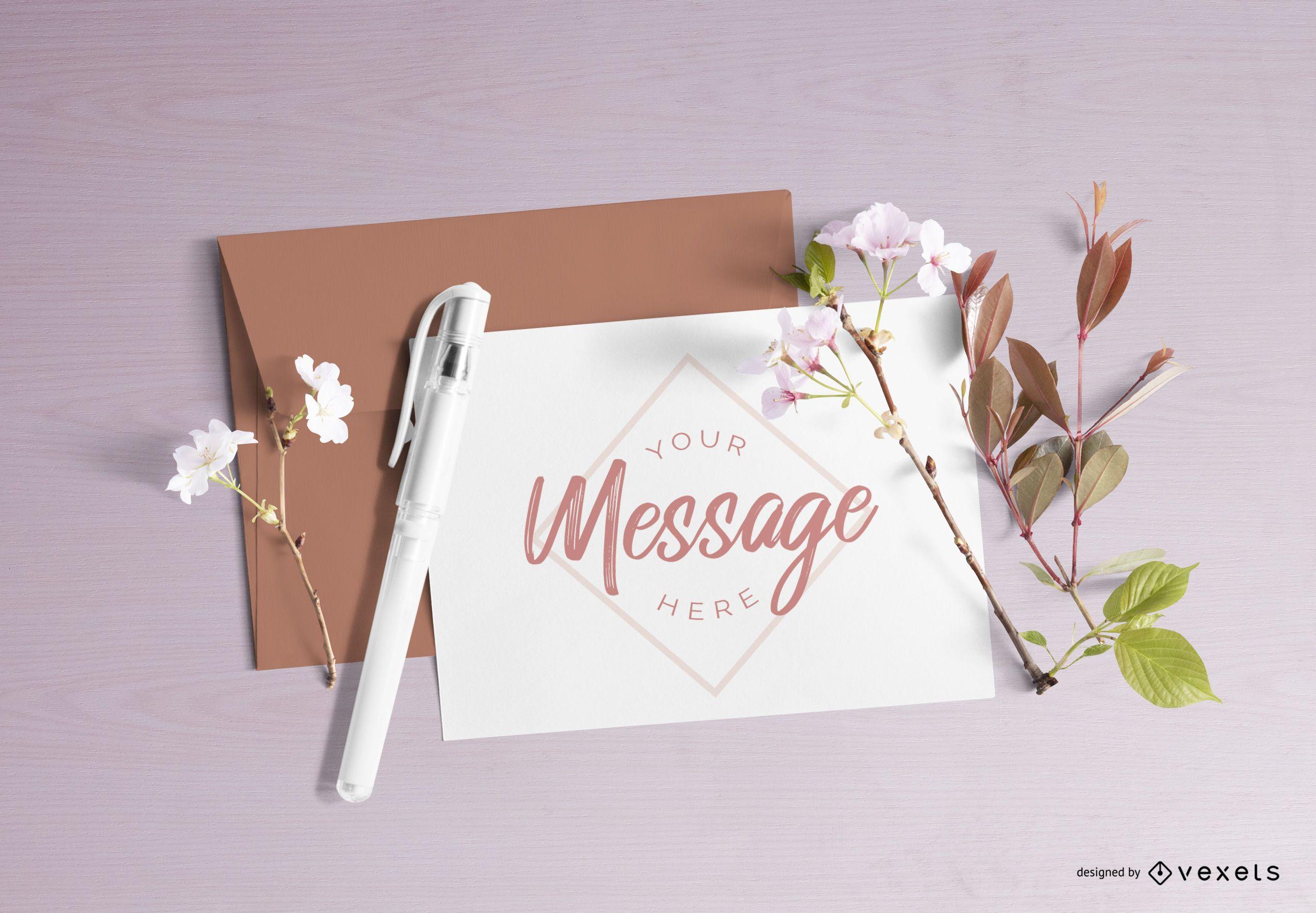 Floral letter mockup composition