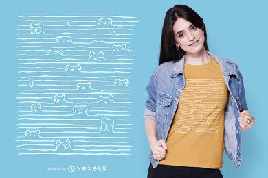 Diseño de camiseta de perros en líneas