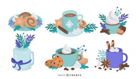 Winter food illustration set