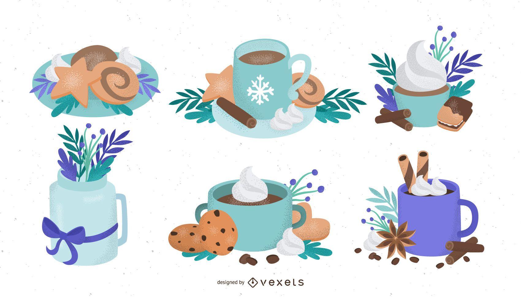 Winter food illustration set