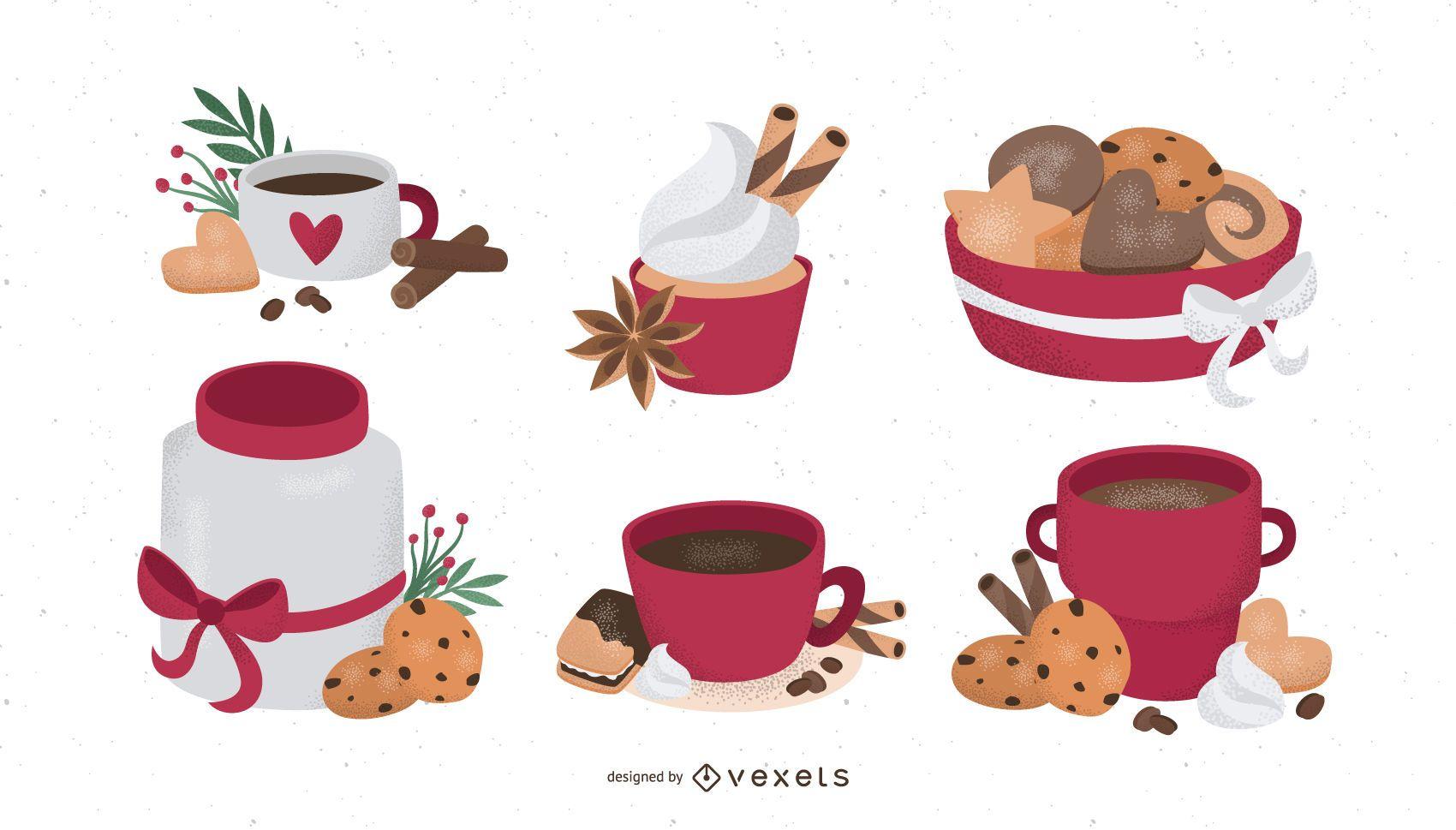 Winter foods illustration set