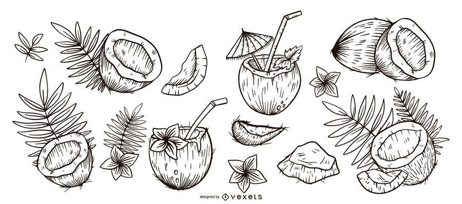Conjunto dibujado a mano coco