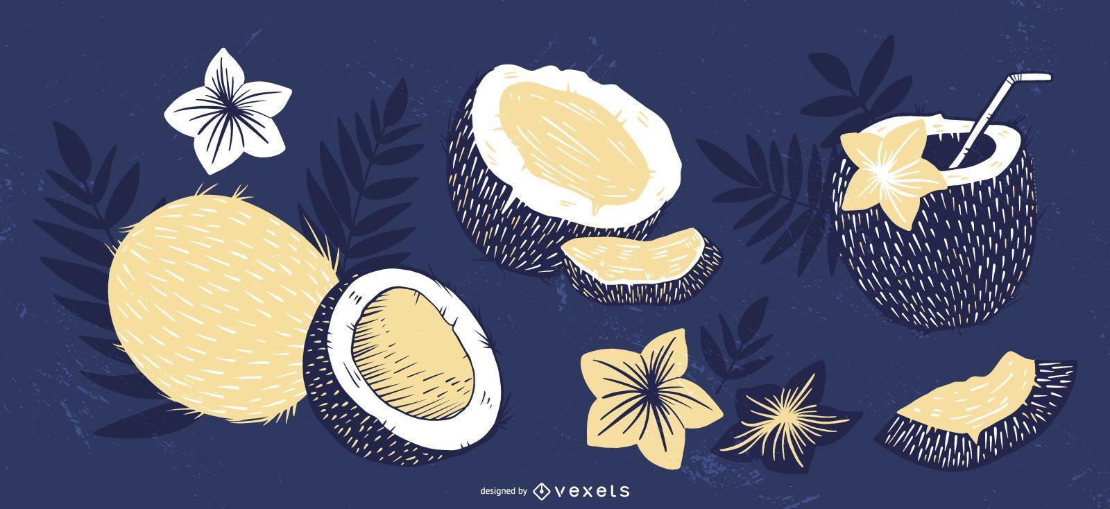Coconut elements blue set