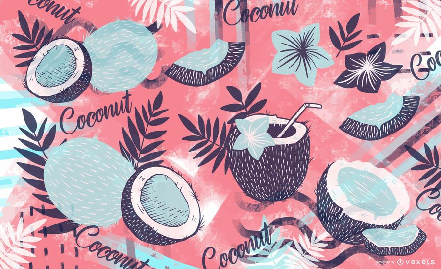 Colorful coconut pattern design