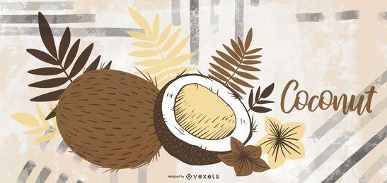 Gezeichnete Illustration der Kokosnusshand