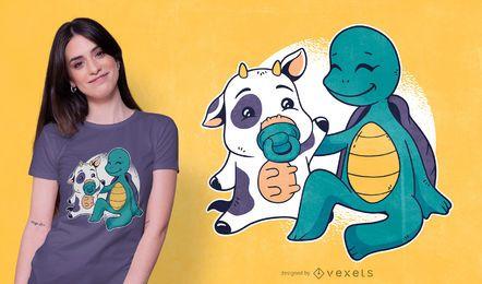 Design de camiseta para bebê vaca e tartaruga