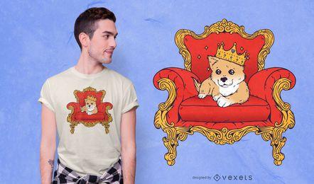 Projeto do t-shirt do cão de filhote de cachorro do rei