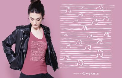 Diseño de camiseta Unicornios en líneas
