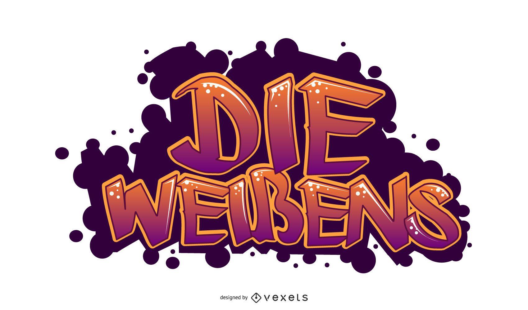 Diseño de letras alemanas de arte callejero