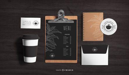 Composición de maqueta de cafetería