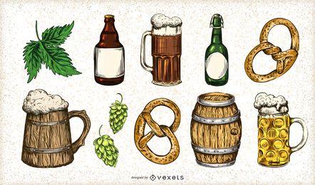 Conjunto de elementos de cerveja desenhada de mão