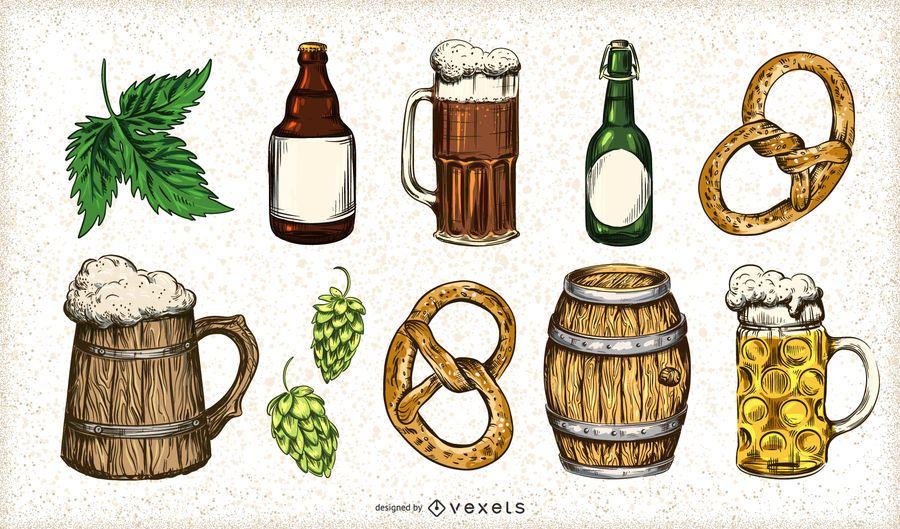 Hand gezeichneter Bierelementsatz