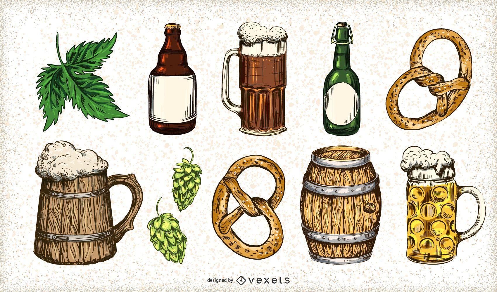 Conjunto de elementos de cerveja desenhada à mão
