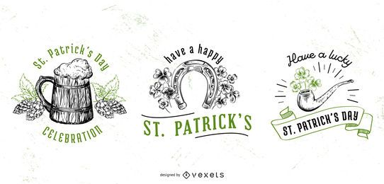St patricks day badge set