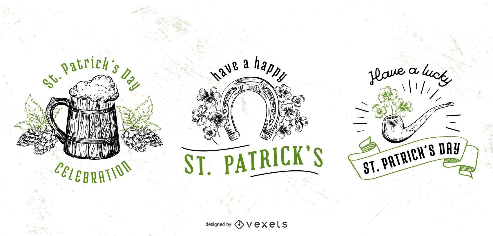 St patricks day badge set