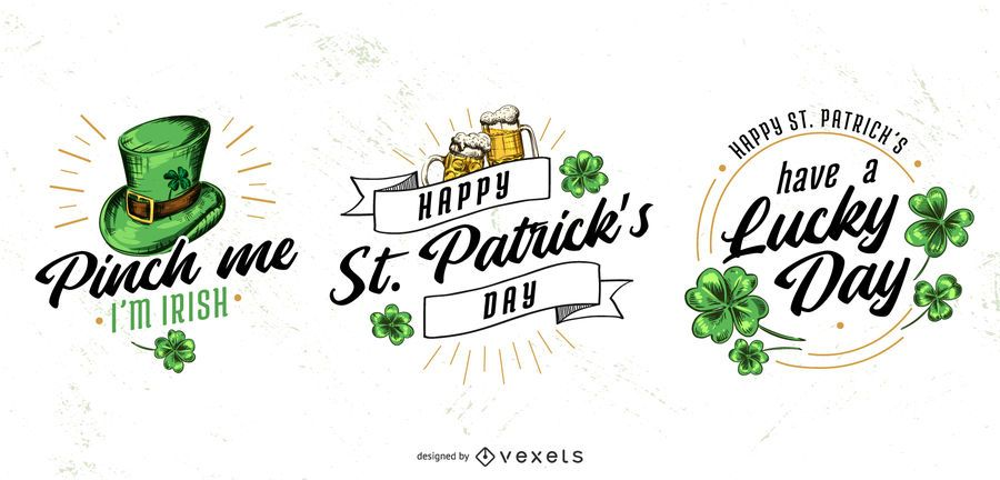 St patricks badge set
