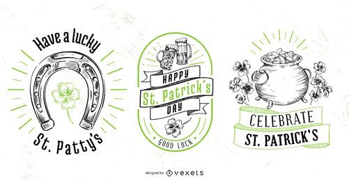 St patrick's day badge set