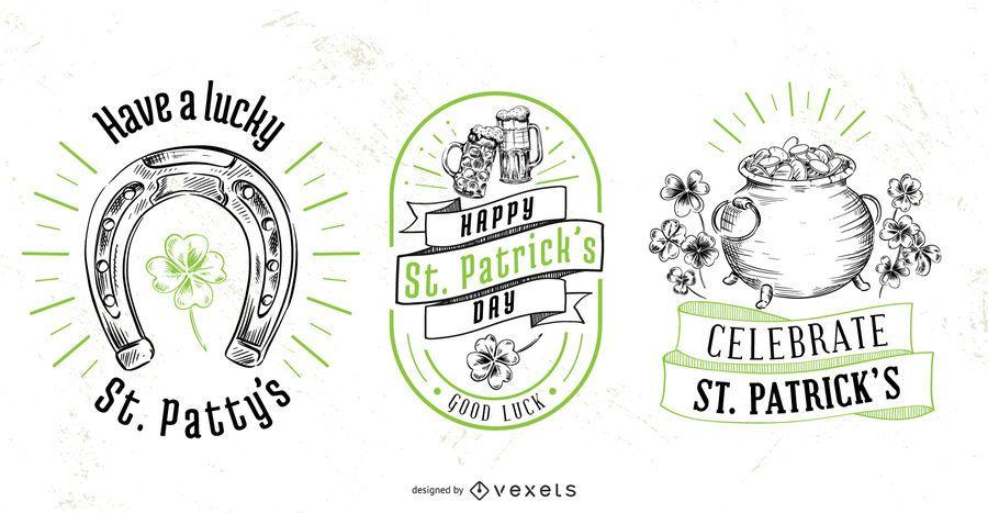 Conjunto de insignias del día de san patricio