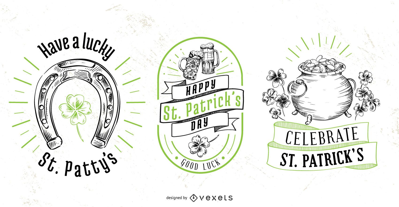 St patrick's day badge set