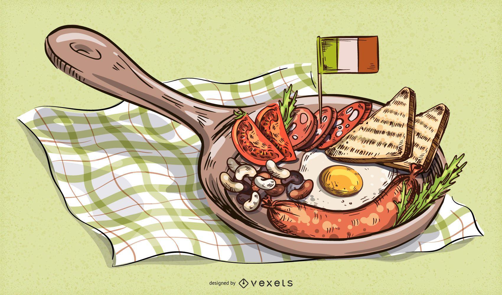 Ilustración de comida tradicional de San Patricio