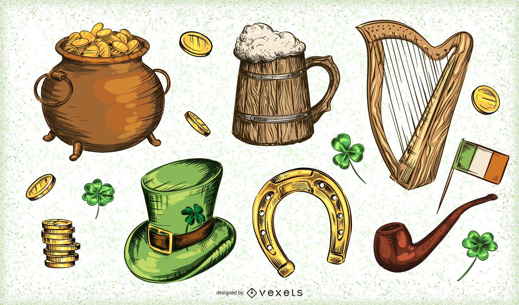 St Patrick's Day elements set