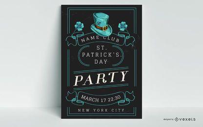 Plantilla de póster de fiesta de san patricio