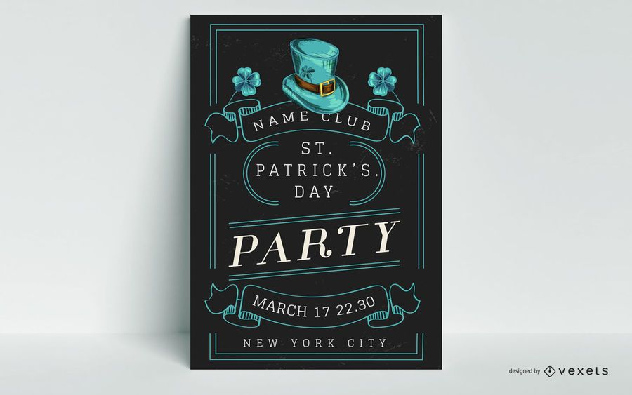 St patrick's party poster template