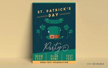 St Patrick Tagesparteiplakatschablone
