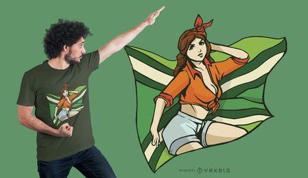 Design de t-shirt com bandeira de menina Pin-up