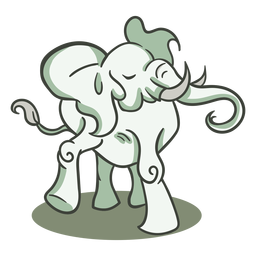 Elephant green character stylish